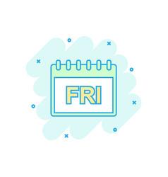 cartoon colored friday calendar page icon in vector image