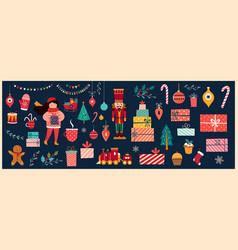 christmas vintage banner vector image