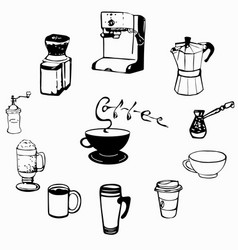 coffee cups and equipment vector image