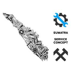 Collage sumatra island map of repair tools vector
