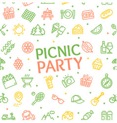 color picnic party banner card background vector image