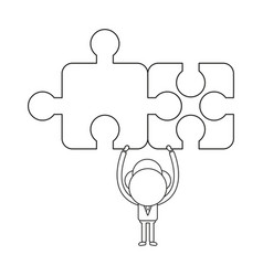 concept of businessman character holding up two vector image