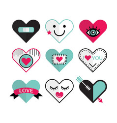 Cute heart and love icon emblems design elements vector