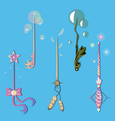Decorative set with magic wands vector
