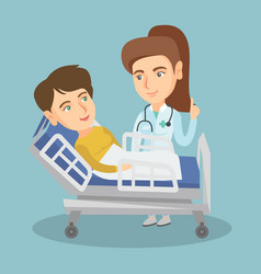 Doctor visiting a patient in a hospital room vector