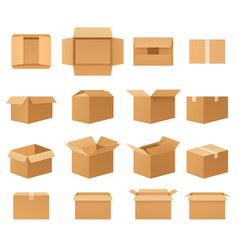 empty cardboard packages boxes set open and vector image