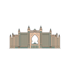 Famous pink dubai ataltis hotel icon isolated vector