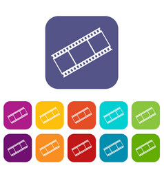 Film with frames icons set vector