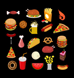 Food set feed icon collection signs meat pizza vector