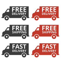 free delivery and free shipping truck icons vector image