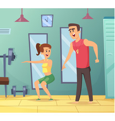 gym background cartoon sport characters male and vector image