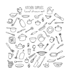 Hand Drawn Kitchen Tools Set Kitchenware vector