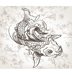 Hand drawn koi fish vector