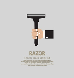 Hand Holding A Razor vector image