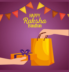 Hand with bag and present gift with party banner vector