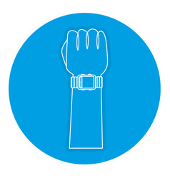 Hand with wristle watch isolated icon vector