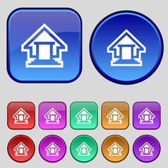 House icon sign A set of twelve vintage buttons vector image