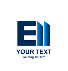 Initial letter e logo template colored blue bar vector