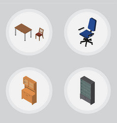 Isometric furniture set of chair cupboard vector