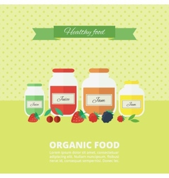 Jam and juice card in flat style vector image