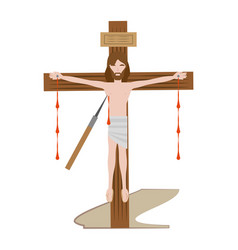 Jesus christ dies cross - via crucis vector