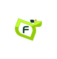 Leaf initial f logo design template vector