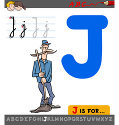 Letter j with cartoon janitor character vector