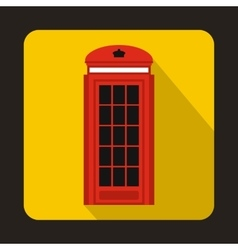 London double decker red bus icon flat style vector