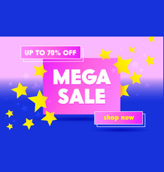 mega sale advertising banner with typography on vector image
