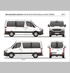 Mercedes sprinter swb low roof combi van l1h1 2017 vector