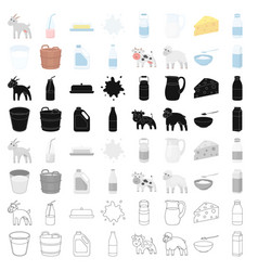 milk set icons in cartoon style big collection of vector image