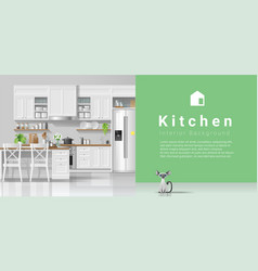 modern rustic kitchen with green wall background vector image