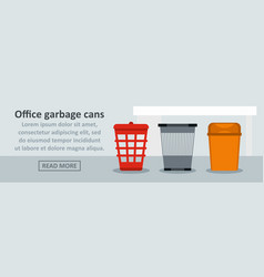 Office garbage cans banner horizontal concept vector