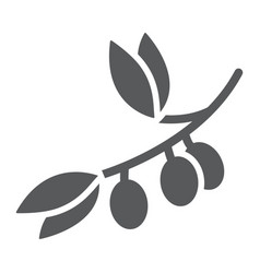 olive branch glyph icon plant and tree olives vector image