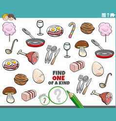 one a kind game for children with food objects vector image