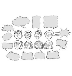people and different speech bubble templates vector image