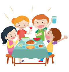 People having meal at dining table vector