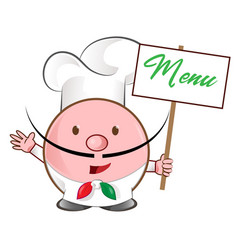 pizza chef mascot with menu signboard vector image