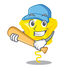 Playing baseball star balloon was flown mascot sky vector