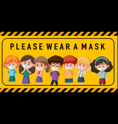 please wear a mask sign or banner with group vector image