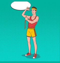 pop art funny sportsman measures his muscles vector image