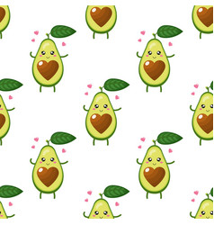 seamless pattern with cute cartoon avocado vector image
