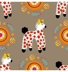 Seamless pattern with horse in Russian Dymkovo vector image