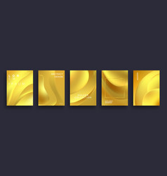 set abstract gold greeting posters realistic vector image