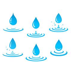 Set blue water drop and splash vector