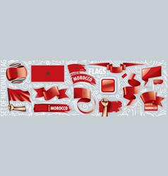 Set national flag morocco in vector