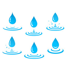 Set of blue water drop and splash vector
