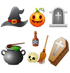 Set of halloween equipment cartoon vector