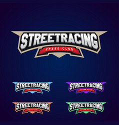 set of the power full street racing sport vector image