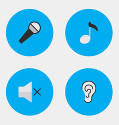 Set simple icons elements mike note listen and vector